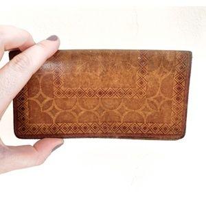 vintage leather checkbook